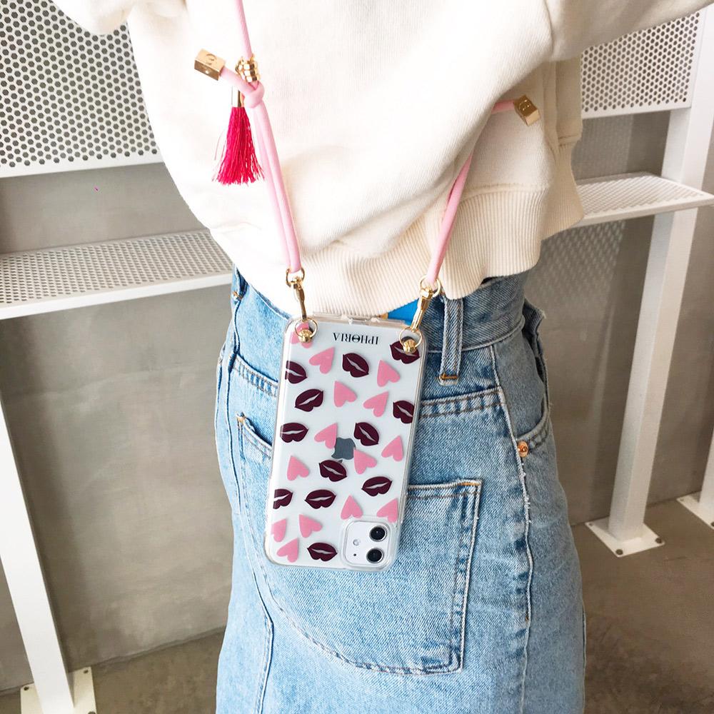 IPHORIA|IPhone 11 Pro -粉色細背帶-愛心紅唇