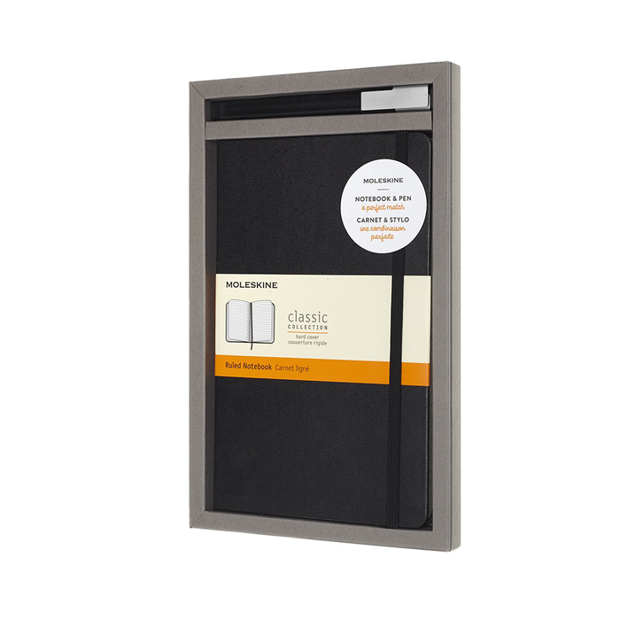 MOLESKINE 經典硬筆記本&鋼珠筆禮盒-黑