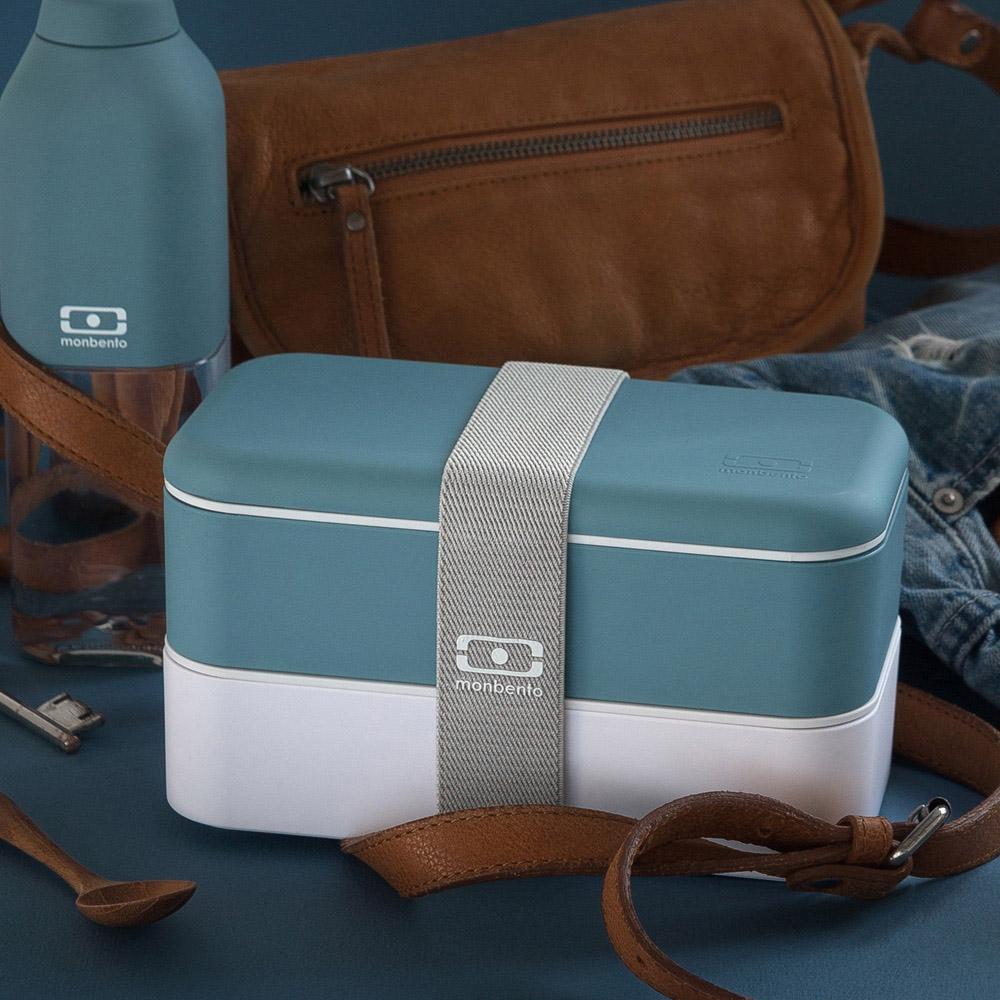 MONBENTO 雙層餐盒 (牛仔藍/白)