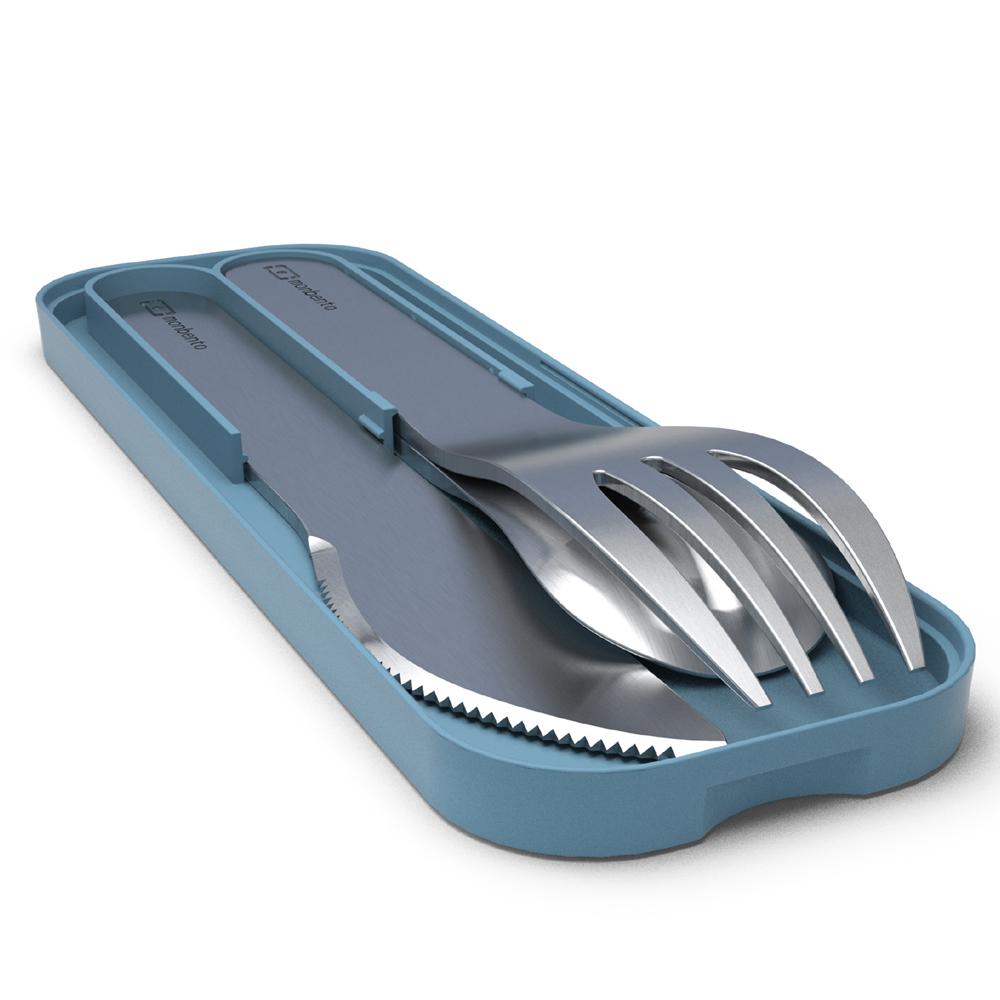 MONBENTO|不鏽鋼餐具組 (牛仔藍色)