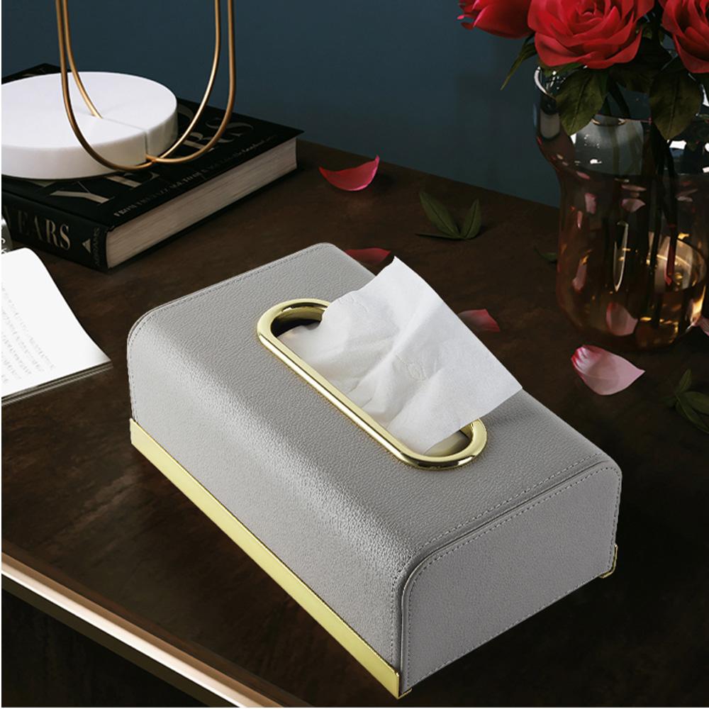 bencross本心本來|皮革長形餐巾紙盒-灰色