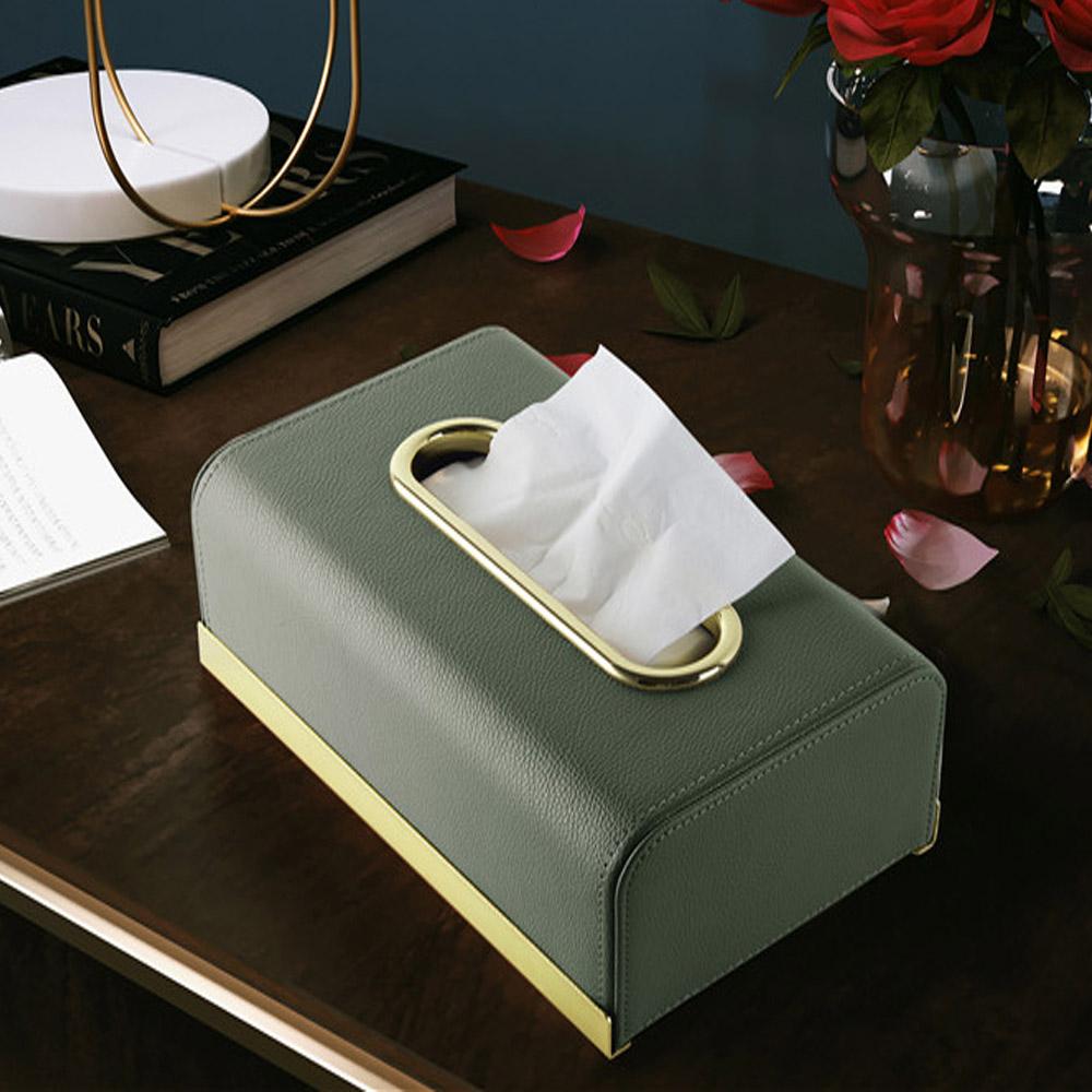 bencross本心本來 皮革長形餐巾紙盒 -橄欖綠
