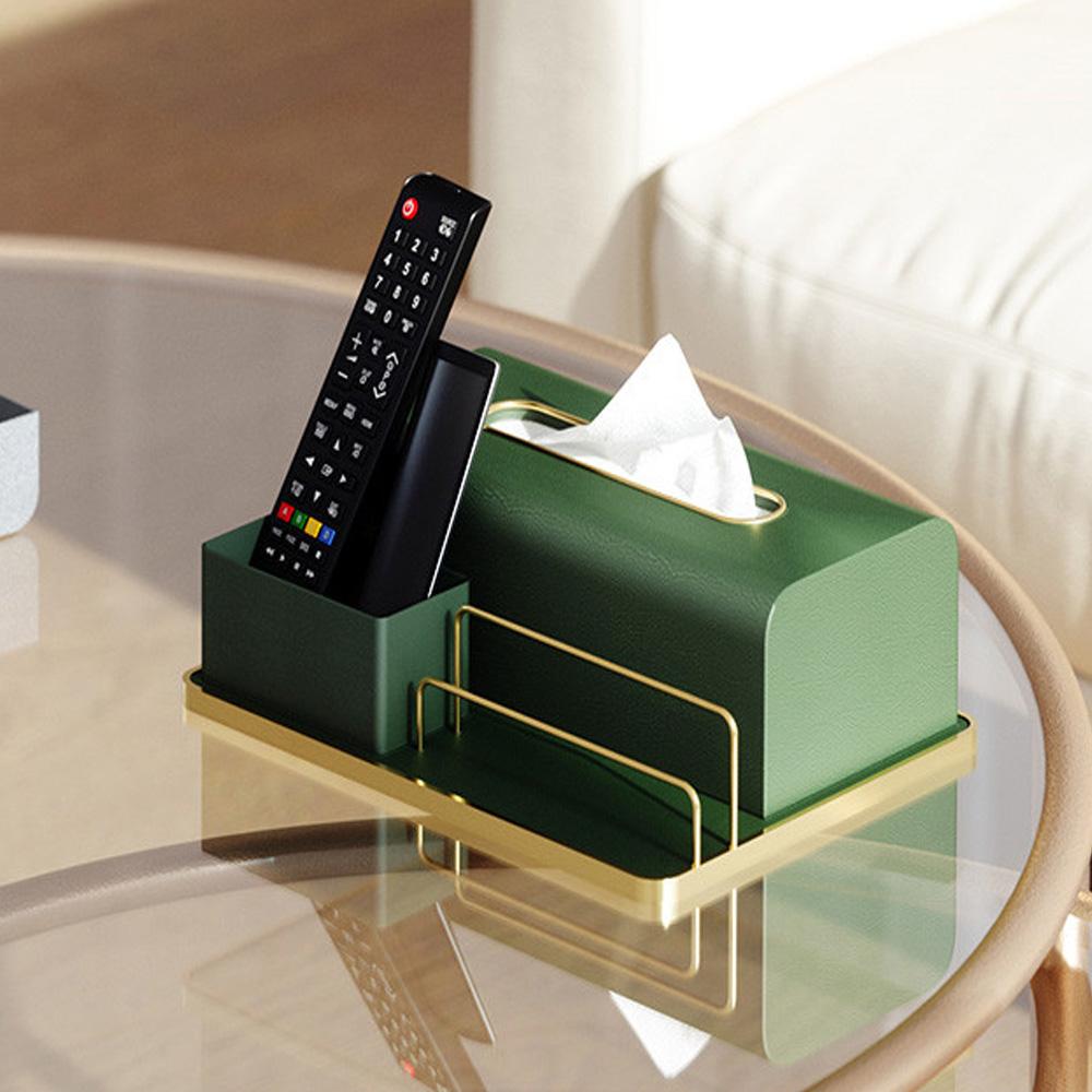 bencross本心本來|皮革搖控器衛生紙收納盒-綠色