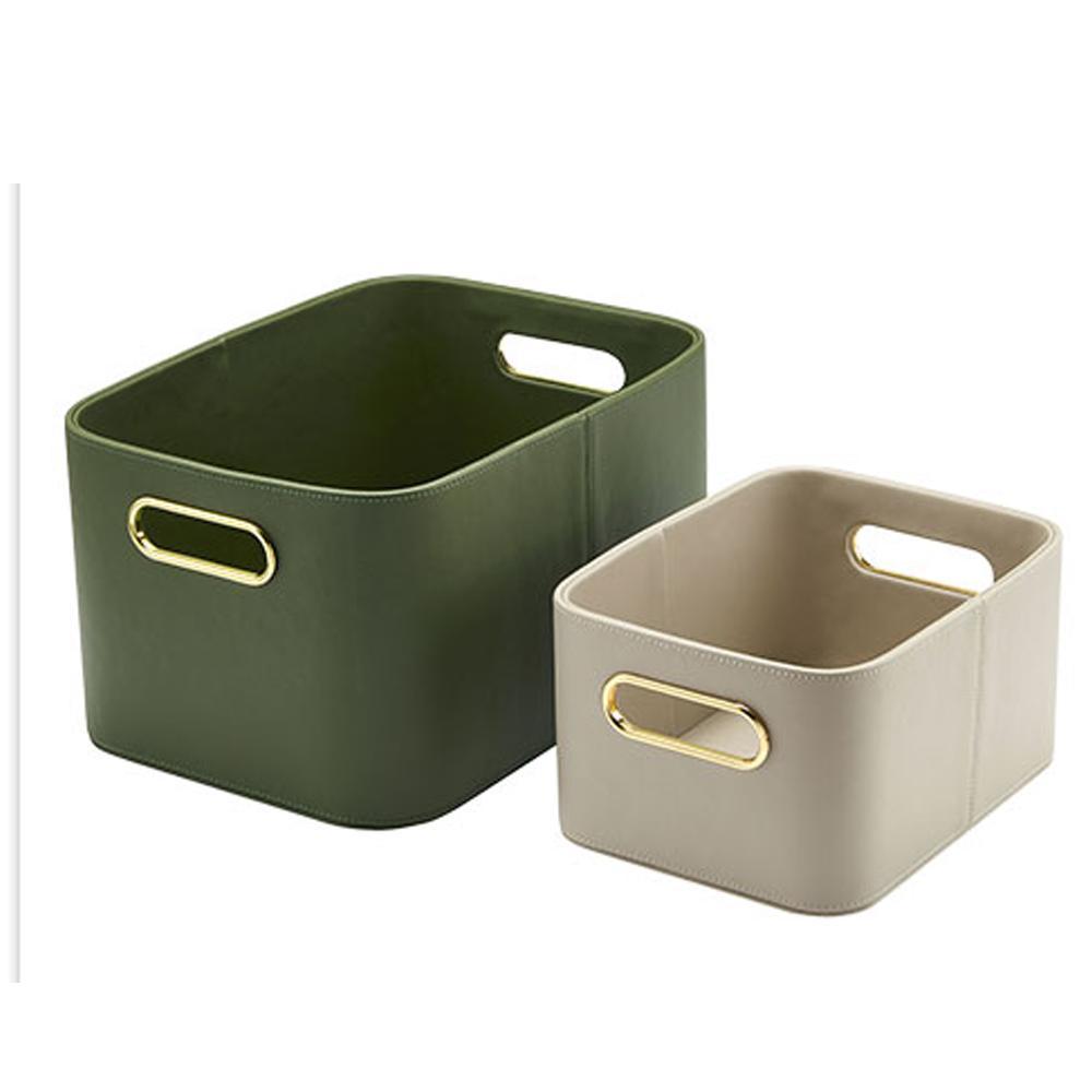 bencross本心本來|皮革收納籃-橄欖綠色-大