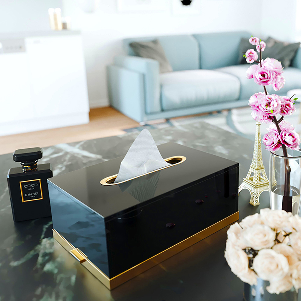 bencross本心本來|亮金色黑色方形玻璃餐巾盒
