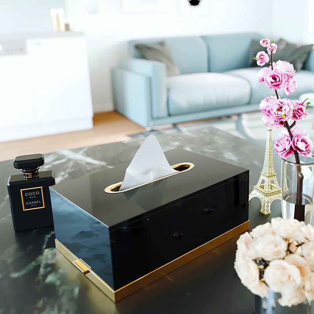 bencross本心本來 亮金色黑色方形玻璃餐巾盒