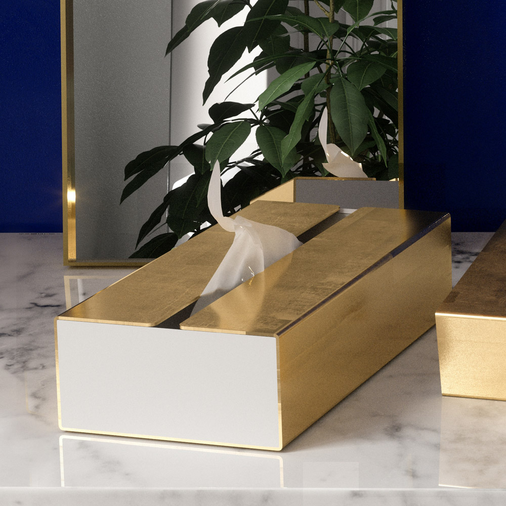 bencross本心本來|不鏽鋼長方形紙巾架-亮金色