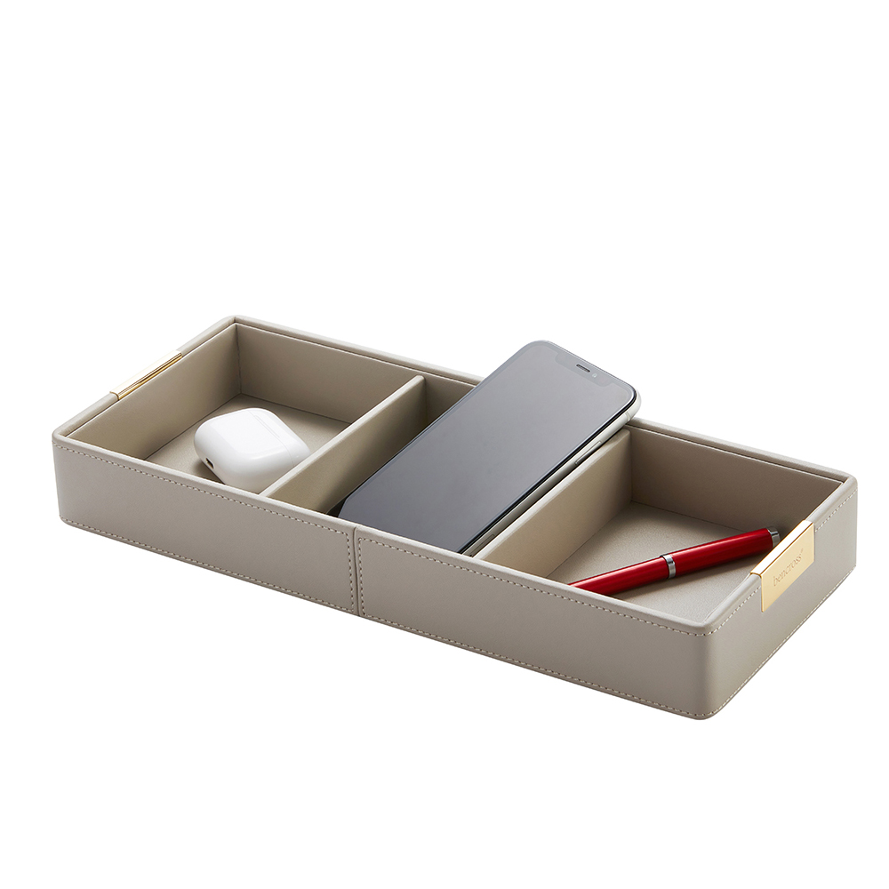 bencross本心本來|皮革格收納盒架-灰色-三格