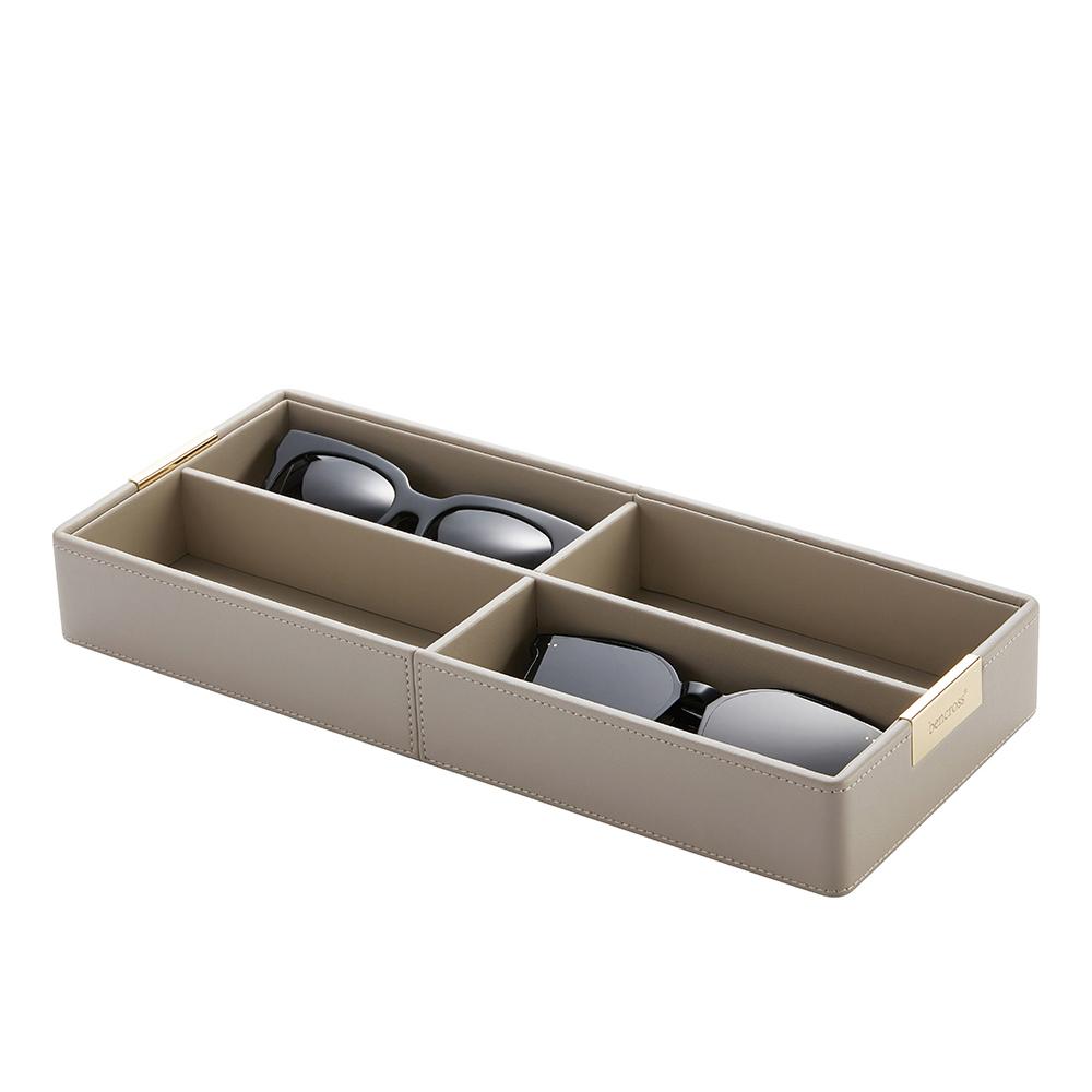 bencross本心本來 皮革格收納盒架-灰色-四格