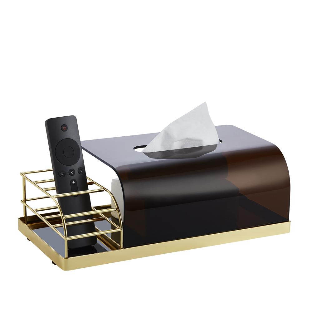 bencross本心本來|搖控器餐巾收納盒-黑金色