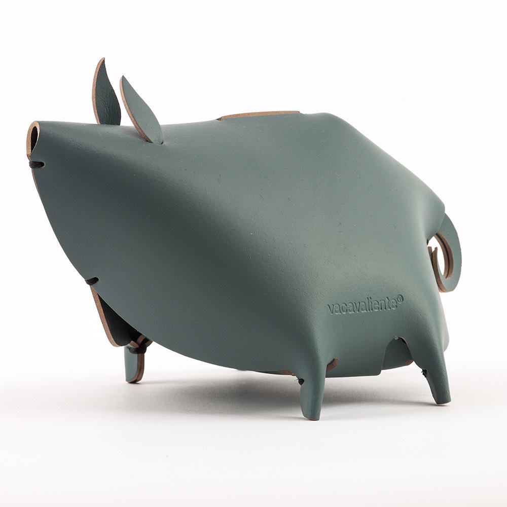 Vacavaliente 小豬造型皮革收納擺飾(灰綠)