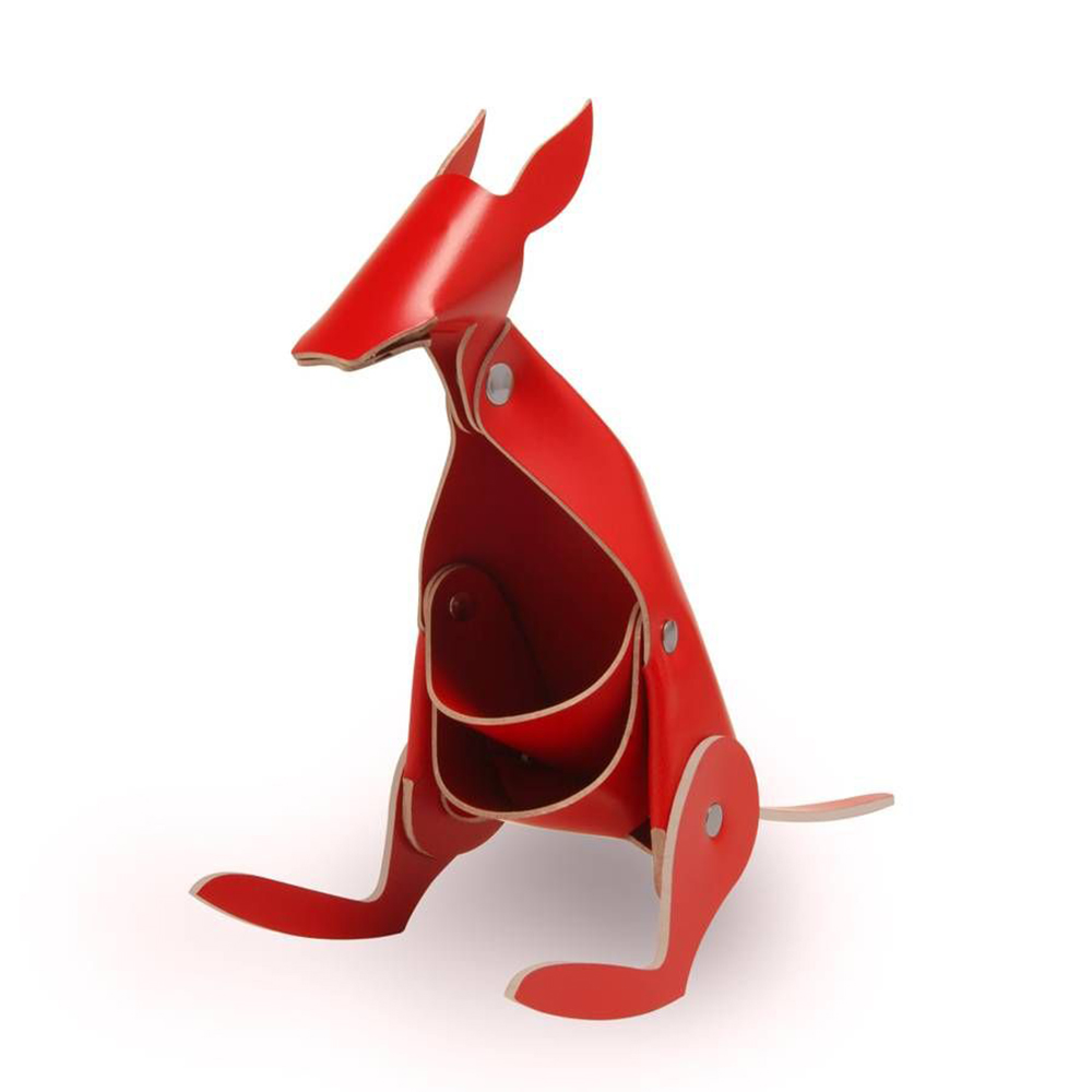 Vacavaliente 袋鼠造型皮革擺飾(紅)
