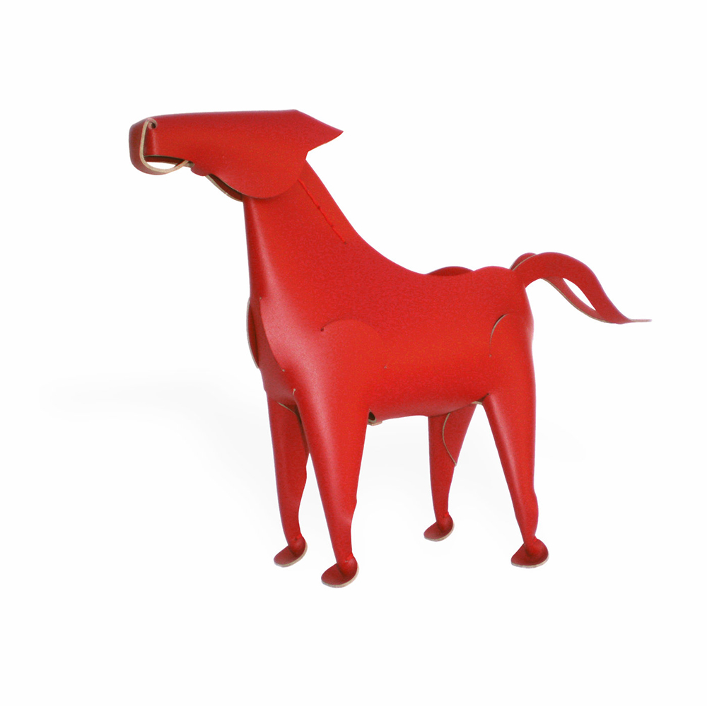Vacavaliente|馬造型皮革擺飾(紅)