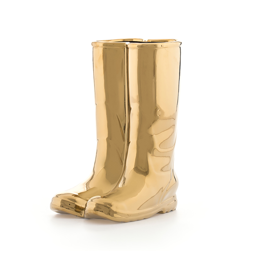 Seletti Limited Edition Gold Porcelain Rain靴子傘桶