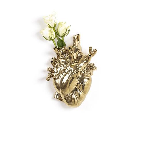 Seletti 金色心臟造型花器
