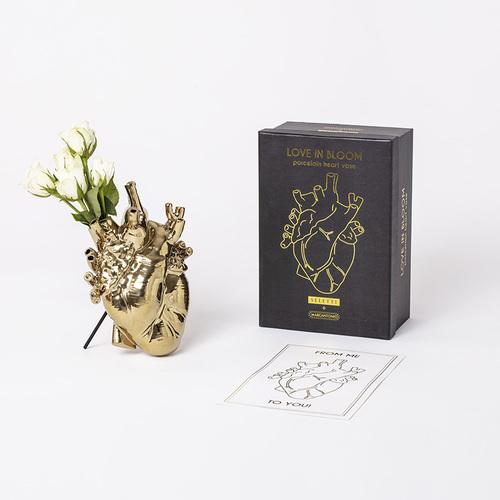Seletti|金色心臟造型花器