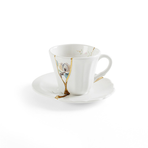 Seletti 金色裂紋造型咖啡杯