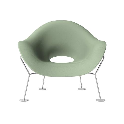 Qeeboo 蛹狀鉻椅腳單人椅(青灰色)