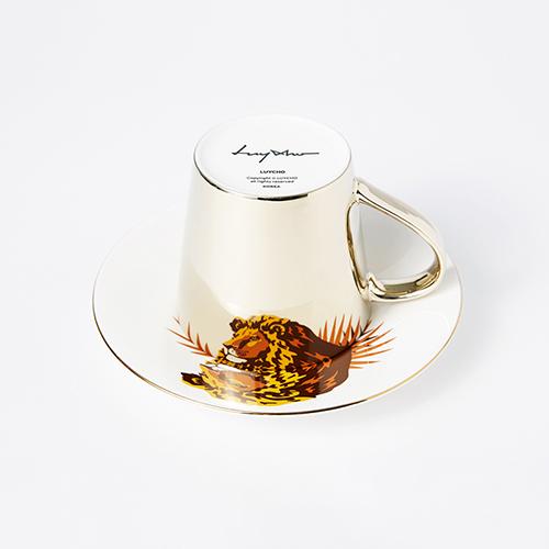 Luycho 鏡面倒影動物圖案咖啡杯-獅子