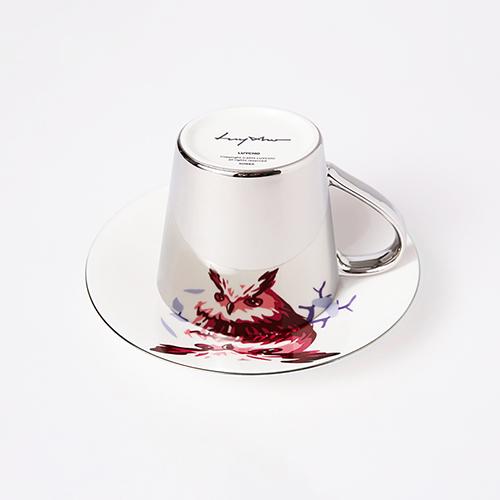 Luycho 鏡面倒影動物圖案咖啡杯-貓頭鷹