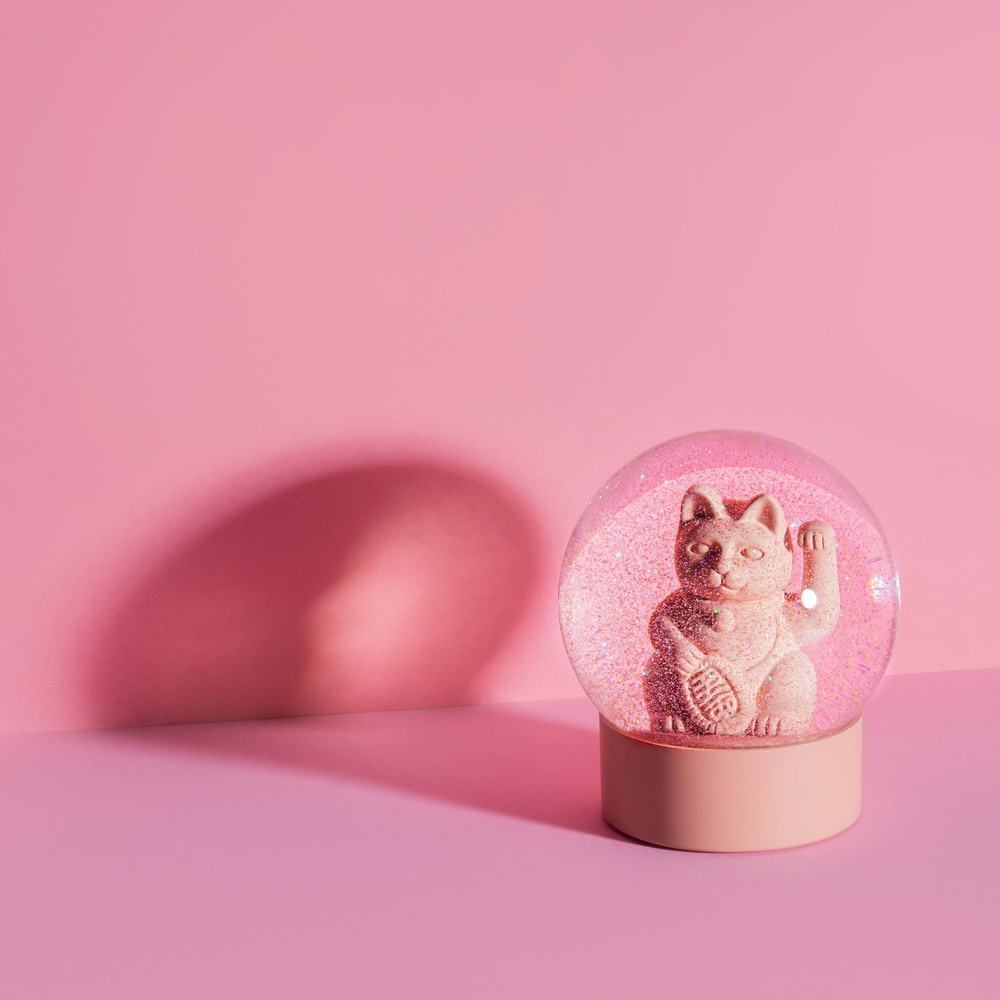 Donkey|招財貓水晶球擺飾(粉)