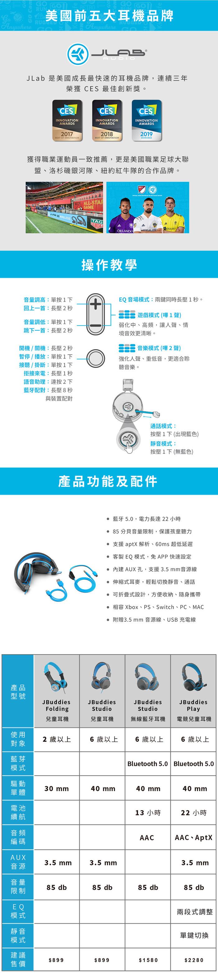 JLab|JBuddies Play 電競兒童耳機