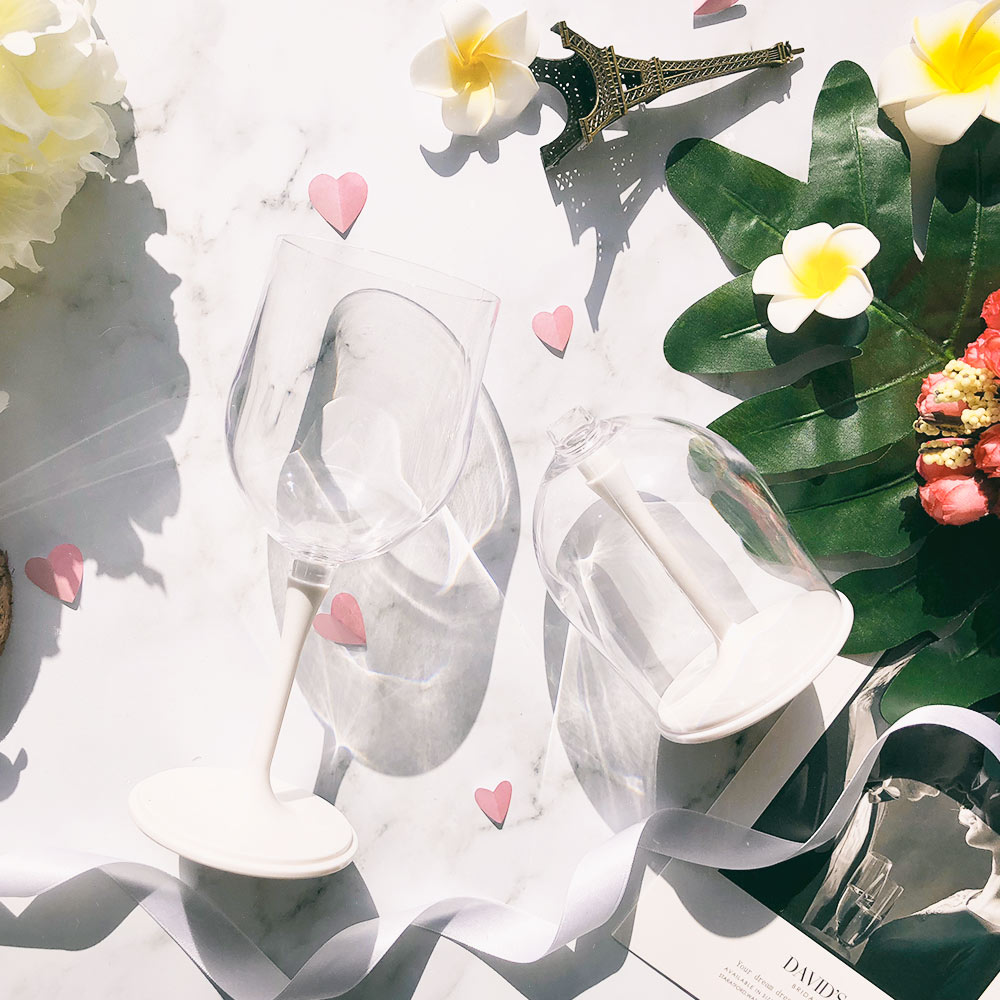 JoyRuby BOSO 攜帶式摺疊紅酒杯(附收納袋)-白