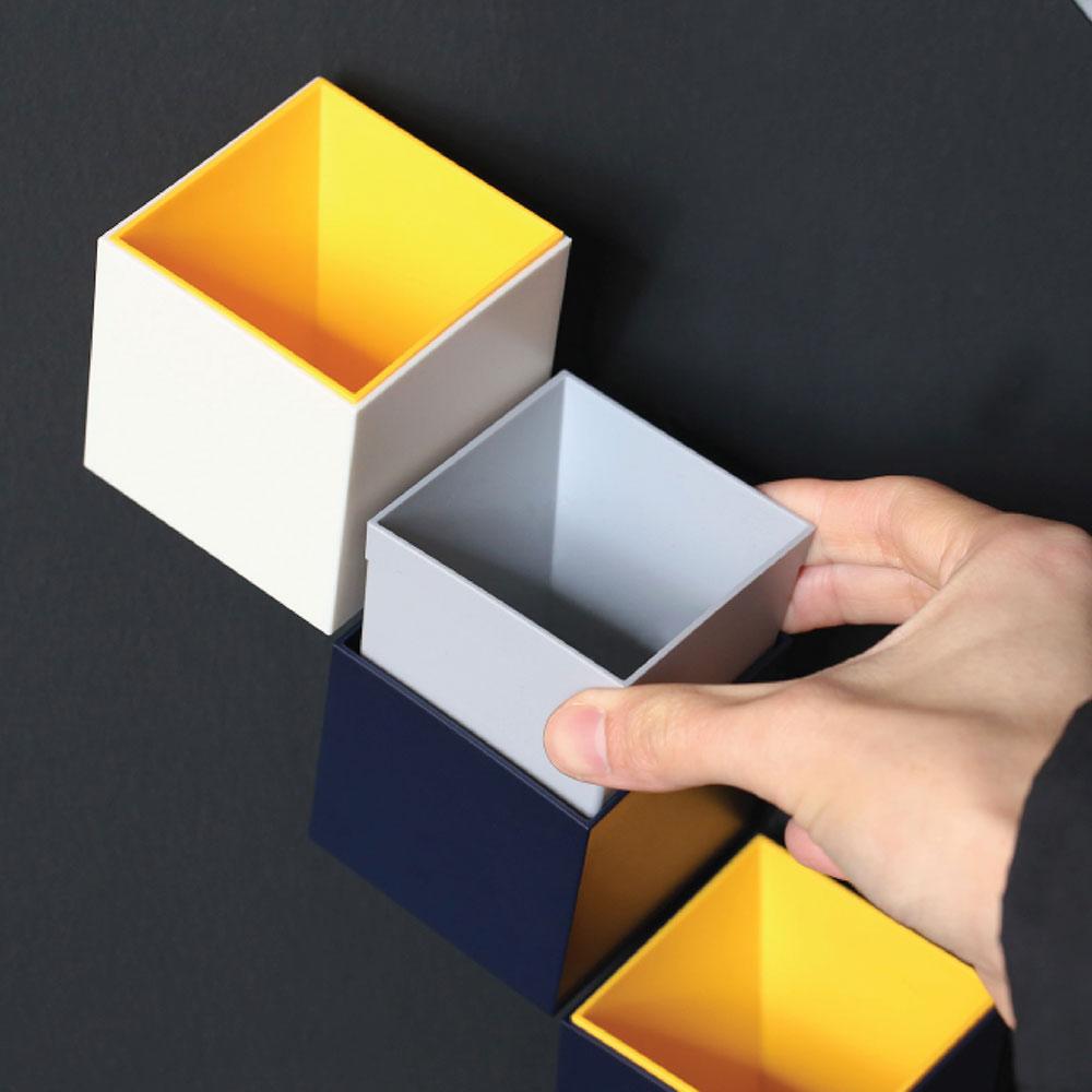 TOYOYO|trick box 幾何造型文具收納架  - 淺灰/黃