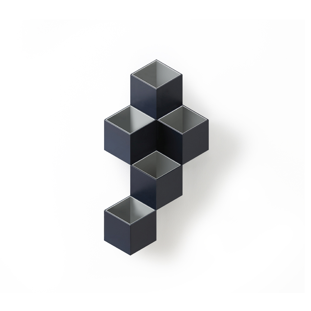 TOYOYO trick box 幾何造型文具收納架  - 深藍/深灰
