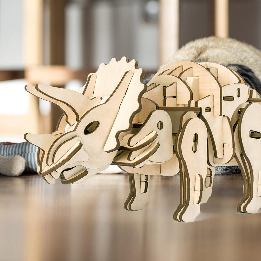ROBOTIME|木製聲控恐龍-三角龍Triceratops