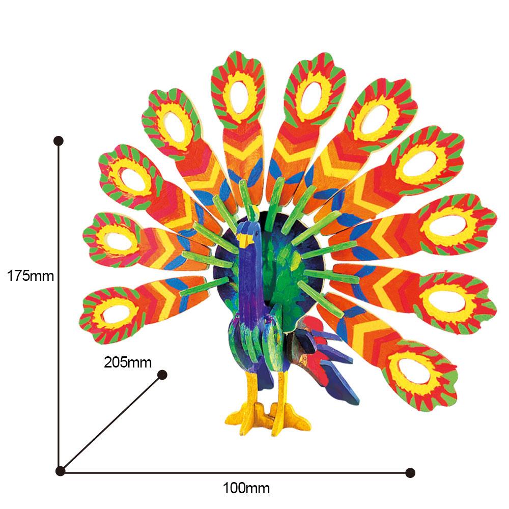 ROBOTIME|立體木質彩繪模型-孔雀Peacock