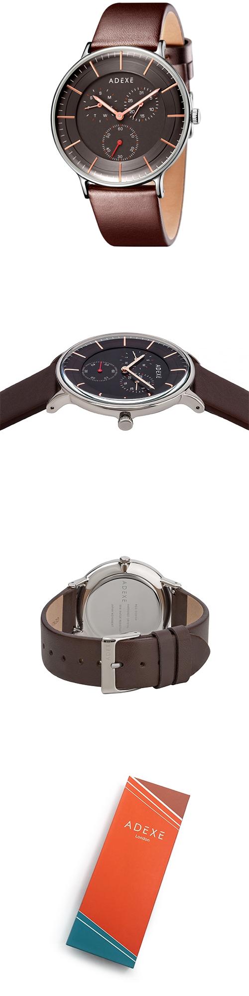 (複製)ADEXE|英國時尚手錶 THEY三眼系列 黑錶盤x銀錶框棕色壓紋皮革錶帶41mm 1868A-04