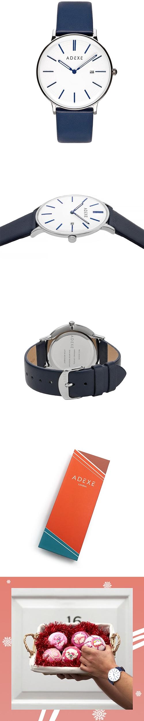 (複製)ADEXE|英國時尚手錶 Freerunner單眼系列 白錶盤x銀錶框皮革錶帶32.5mm 2043C-02