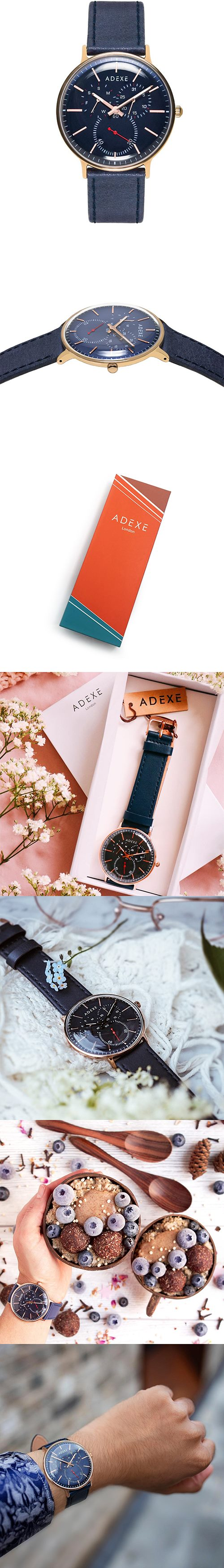 ADEXE|英國時尚手錶 THEY三眼系列 藍錶盤x玫瑰金錶框皮革錶帶41mm 2045C-04
