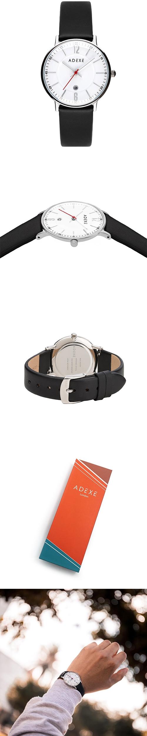 (複製)ADEXE 英國時尚手錶 Freerunner單眼系列 粉色錶盤x銀錶框皮革錶帶32.5mm 2043C-04