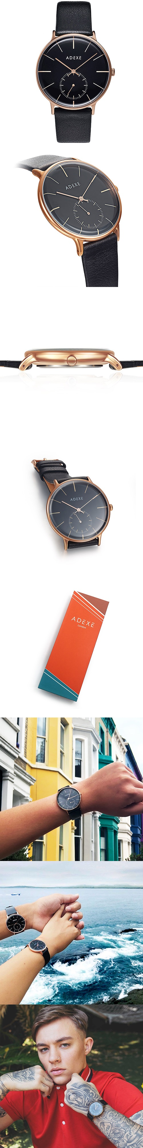 (複製)ADEXE|英國時尚手錶 MAC日期顯示系列白錶盤x銀錶框皮革錶帶32.5mm 2043B-02