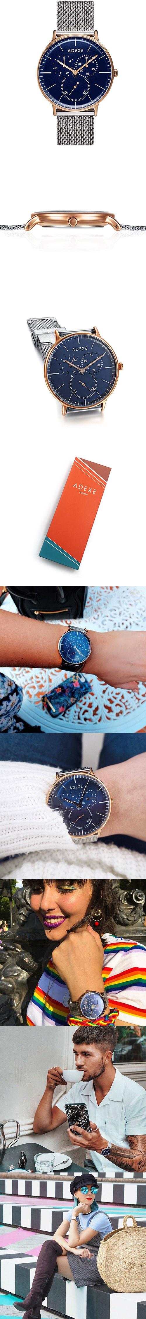 (複製)ADEXE|英國時尚手錶 MAC日期顯示系列 白錶盤x金錶框米蘭錶帶32.5mm 2043B-06