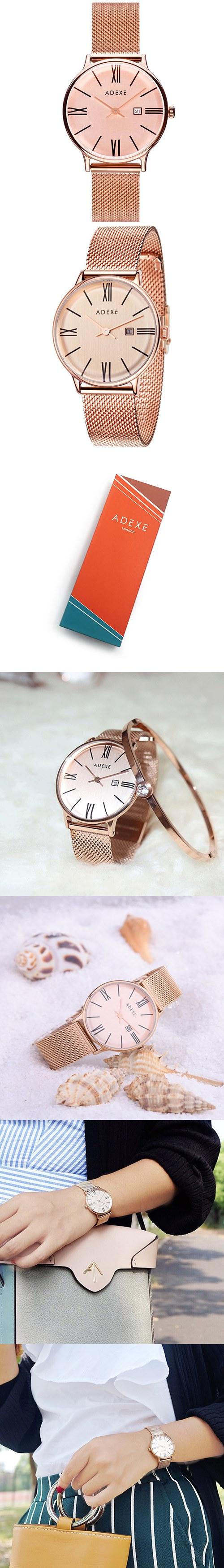 (複製)ADEXE|英國時尚手錶 Sistine羅馬刻度系列 黑錶盤x黑錶框米蘭錶帶42mm 1886A-06