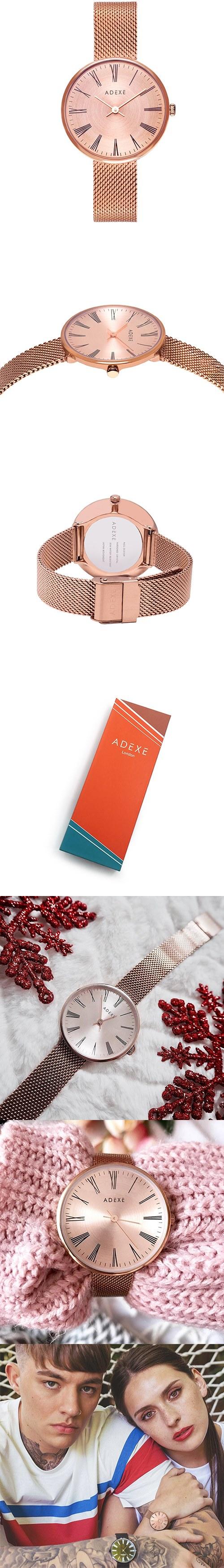 (複製)ADEXE|英國時尚手錶 Meek日期顯示系列 玫瑰金錶盤x玫瑰金錶框米蘭錶帶33mm 1870C-06