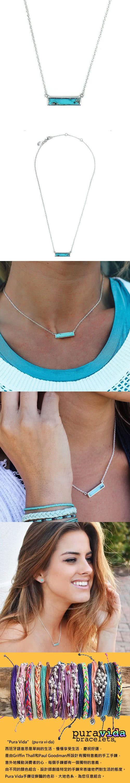 Pura Vida 美國手工 綠松石長方型墜飾 純銀項鍊