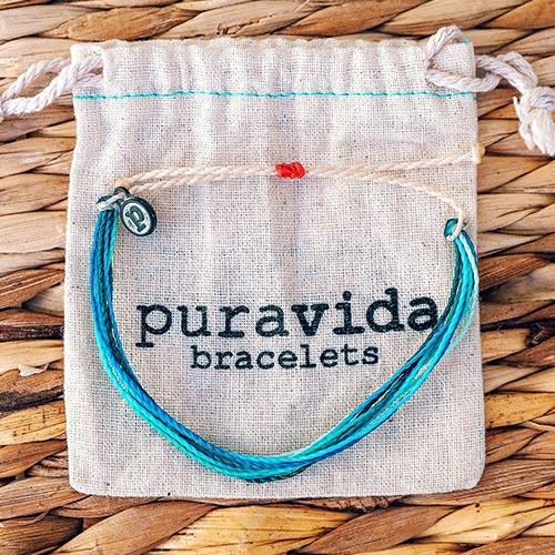 (複製)Pura Vida   美國手工 金色閃電 水藍綠臘線衝浪手鍊手環