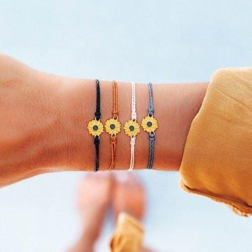 (複製)Pura Vida|美國手工 金色雛菊 棕褐色蠟線可調式手鍊衝浪海灘防水手繩