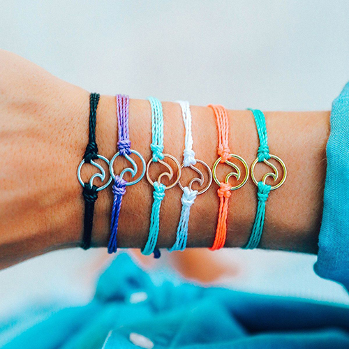 (複製)Pura Vida|美國手工 金色太陽花 灰藍蠟線可調式手鍊衝浪海灘防水手繩