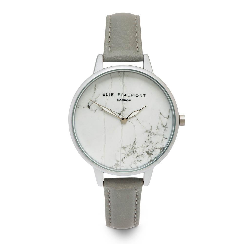 Elie Beaumont|英國時尚手錶 大理石系列 白錶盤x灰色皮革錶帶x銀錶框38mm