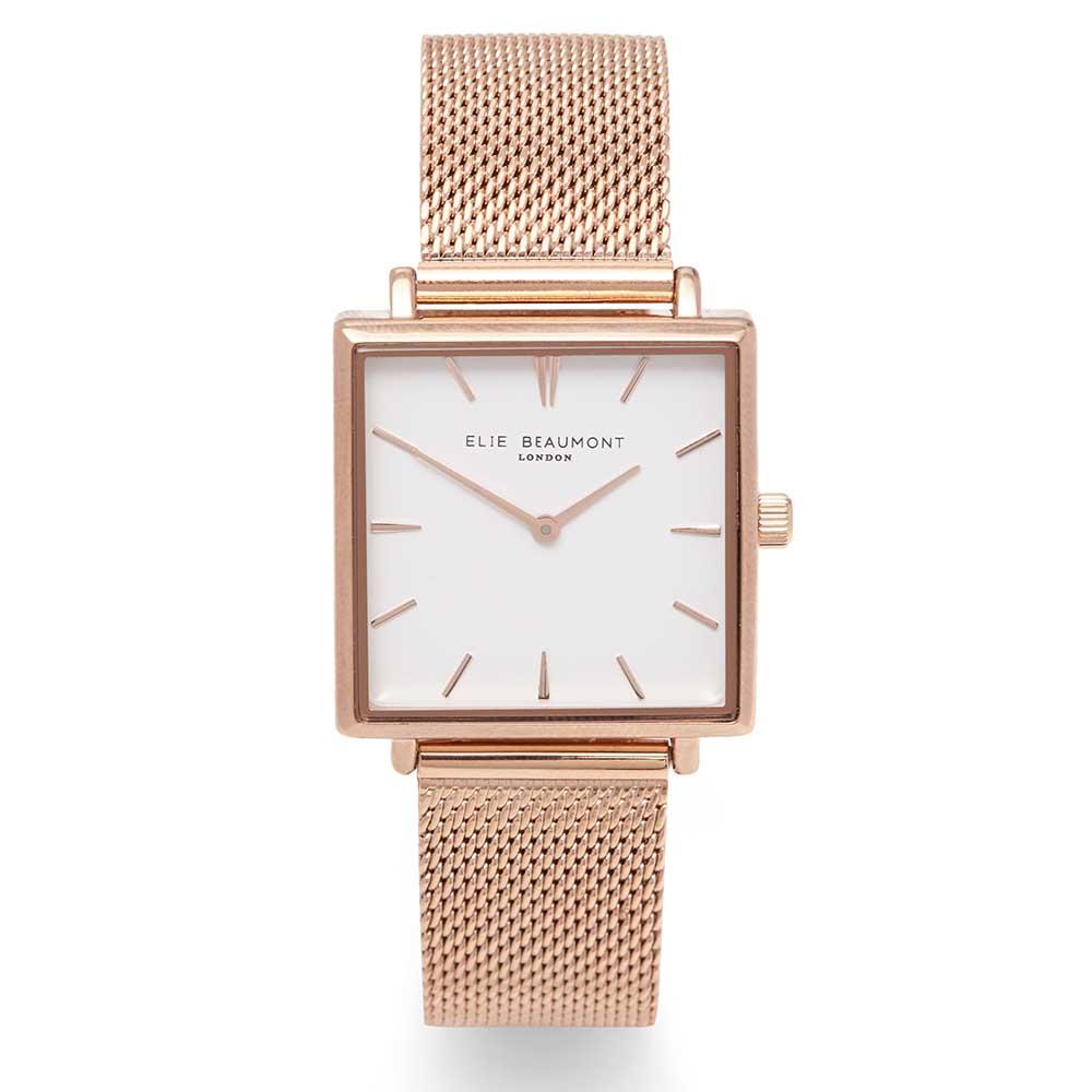 Elie Beaumont|英國時尚手錶 BAYSWATER系列 白錶盤x玫瑰金錶框米蘭錶帶28mm