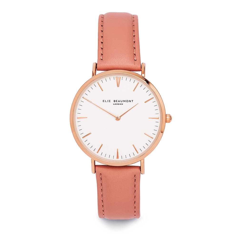 Elie Beaumont 英國時尚手錶 牛津系列 白錶盤x粉紅色皮革錶帶x玫瑰金錶框38mm