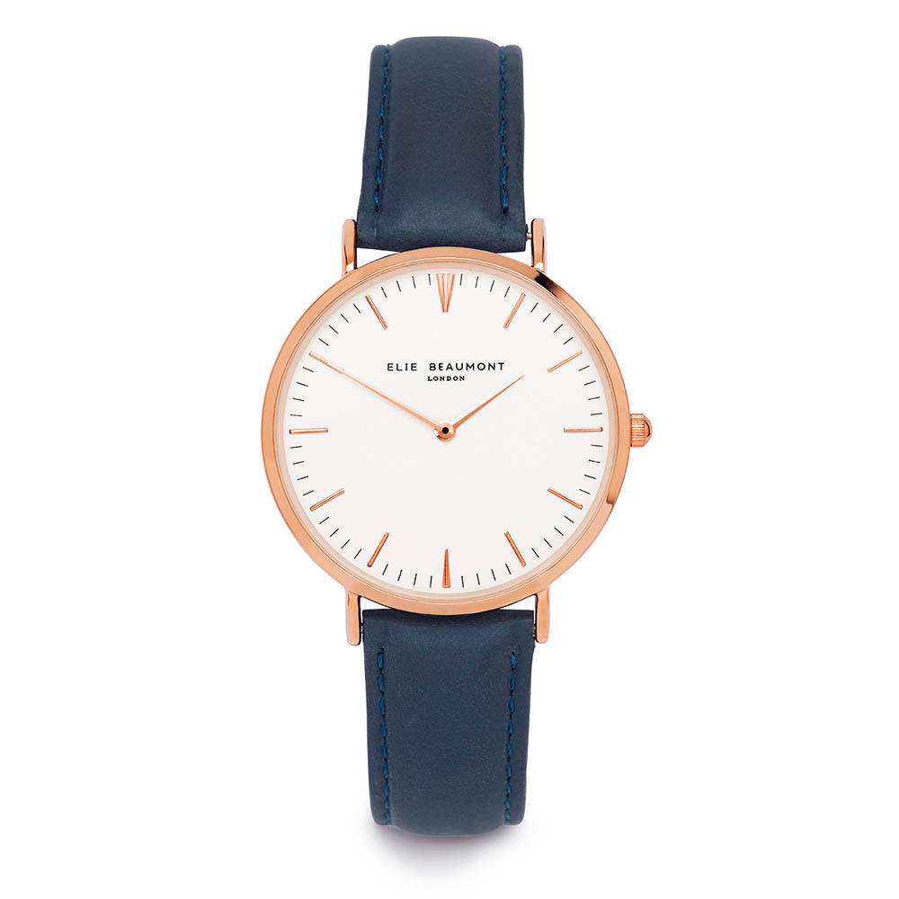 Elie Beaumont|英國時尚手錶 牛津系列 白錶盤x深藍皮革錶帶x玫瑰金錶框38mm