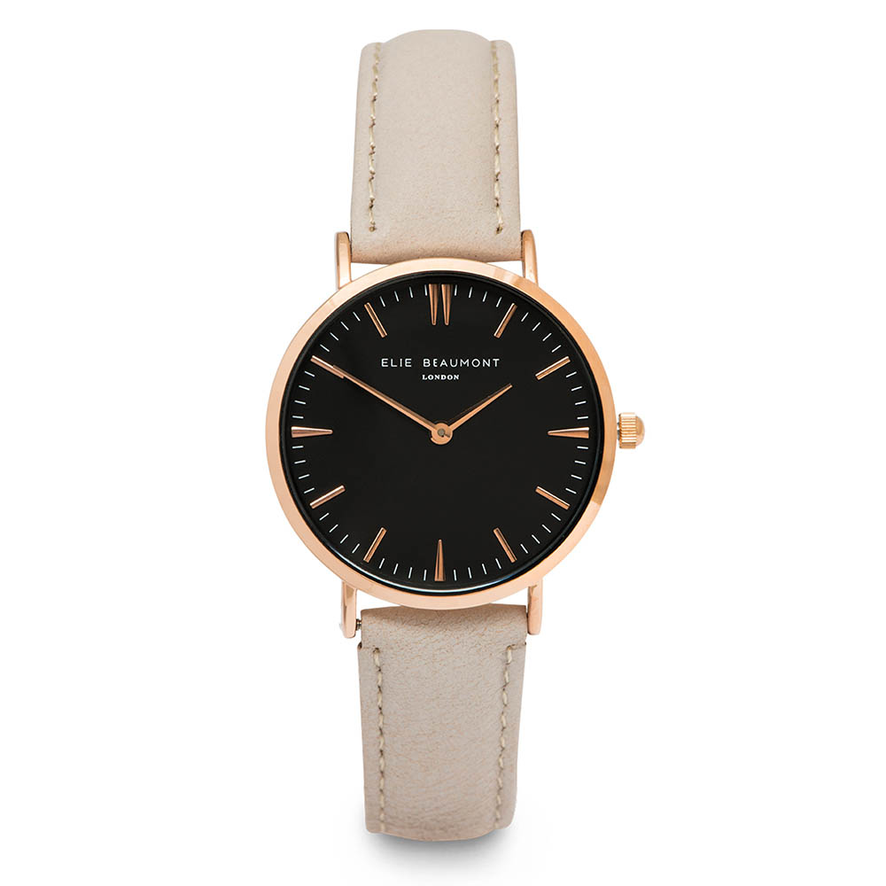 Elie Beaumont|英國時尚手錶 牛津系列 黑錶盤x褐皮革錶帶x玫瑰金錶框38mm