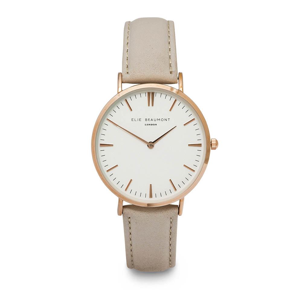 Elie Beaumont|英國時尚手錶 牛津系列 白錶盤x褐色皮革錶帶x玫瑰金錶框38mm