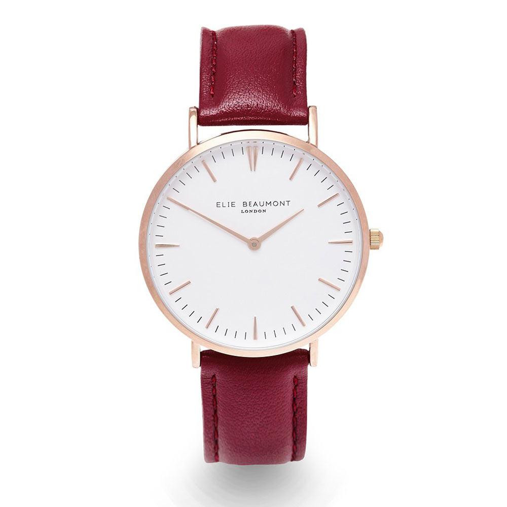 Elie Beaumont|英國時尚手錶 牛津系列 白錶盤x勃地根紅錶帶x玫瑰金框38mm